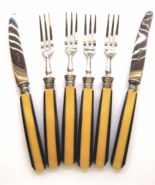 Art Deco Bakelite Butterscotch and Black Laminated Flatware Set Germany   - $28.00