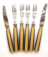 Art Deco Bakelite Butterscotch and Black Laminated Flatware Set Germany   - $28.00