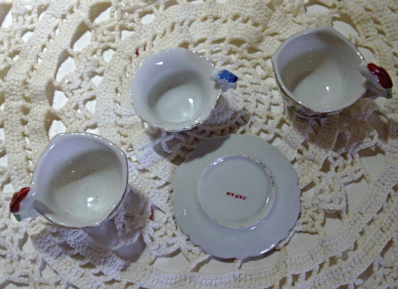 Vintage Lot of Miniature Childrens Tea cups // Made in Japan // Bird Handled cup