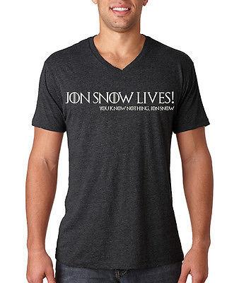 Jon Snow Lives! You Know Nothing Jon Snow Men's TriBlend Vee Neck Tee Stark