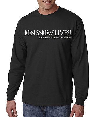 Jon Snow Lives! You Know Nothing Jon Snow Men's Long Sleeve Tee Game Of Thrones