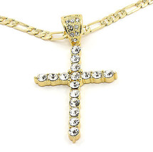 "Mens 14k Gold Plated Big Round CZ Cross Hip-Hop Pendant 30"" 8mm Cuban Chain - $24.25"