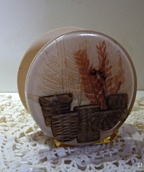 Napkin Holder Letter Keeper Dried Pressed Fern Plant Wicker Basket
