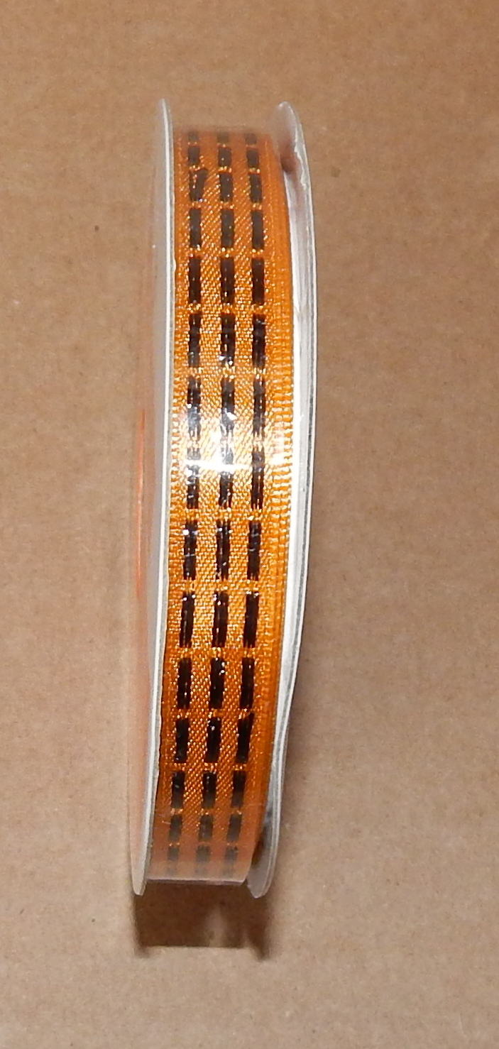 "Halloween Ribbon 3/8"" X 3 Yards Nylon Celebrate It Orange with Black Stripes 70M"