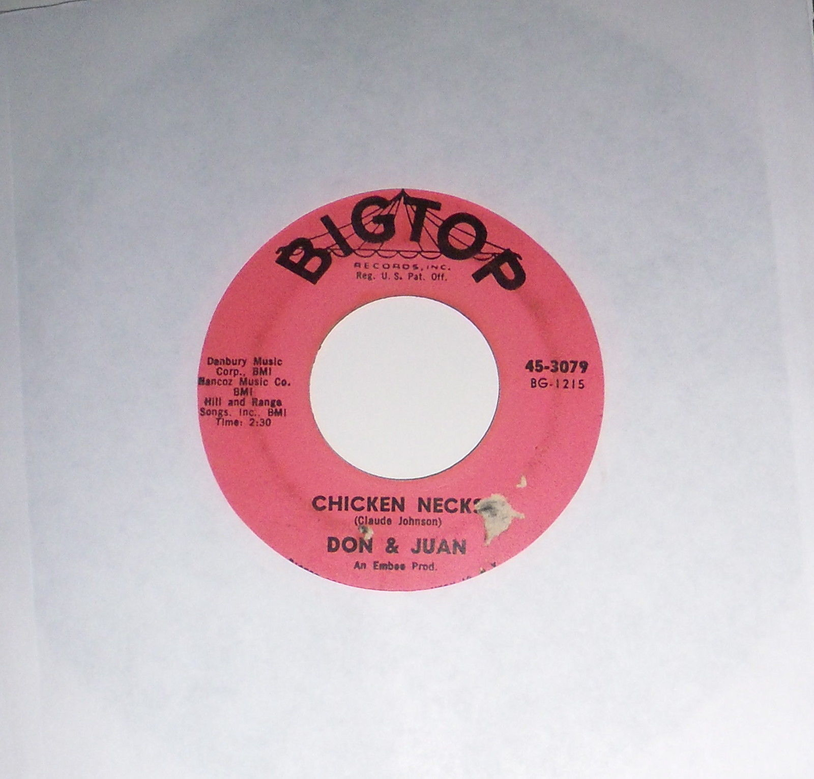 Don & Juan What's Your Name/Chicken Necks 1961 '1A/1B' Bigtop 45-3079