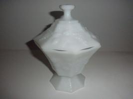 milk glass lidded candy dish grape pattern - $18.76