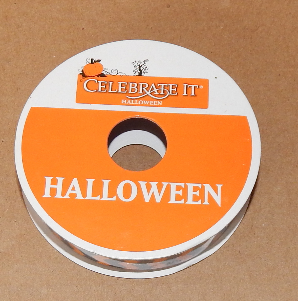"Halloween Ribbon 5/8"" X 3 Yards Nylon Celebrate It Orange & Black Lines 70O"