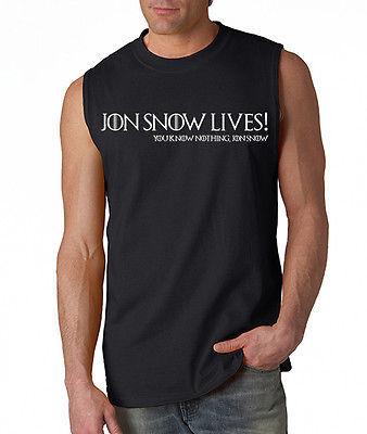 Jon Snow Lives! You Know Nothing Jon Snow Men's Sleeveless Tee Game Of Thrones