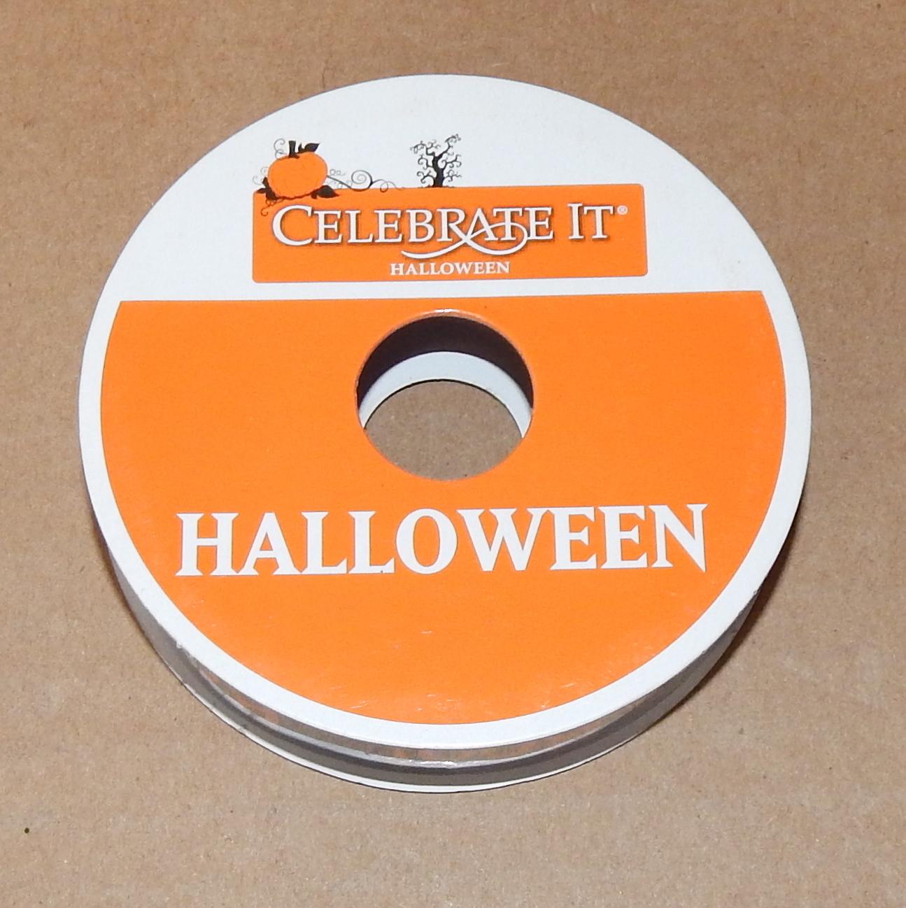 "Halloween Ribbon 5/8"" X 3 Yards Nylon Celebrate It Orange & Black BOO Ribbon 70P"