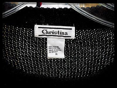 Christina BLACK Arqyle Fully Sequin Front Sweater Sz M