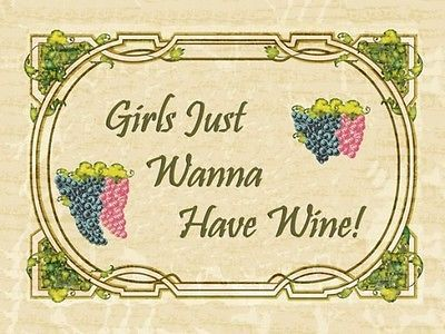 Girls Just Wanna Have Wine Alcohol Merlot Chardonay Liquor Spirits Metal Sign