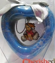 Ensenco Cherished Teddies 282324 Blue Silver Heart Ornament Teddy and Baby - $8.99