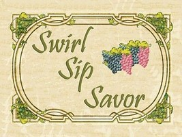 Swirl Sip Savor Wine Alcohol Merlot Chardonay Liquor Spirits Metal Sign - $23.95