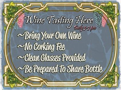 Wine Tasting Here Alcohol Merlot Chardonay Liquor Spirits Metal Sign