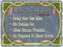 Wine Tasting Here Alcohol Merlot Chardonay Liquor Spirits Metal Sign - $23.95