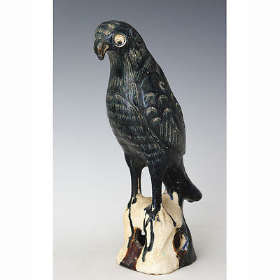 "Beautiful Blue Ceramic Glazed Parrot Figurine 12"" from China"