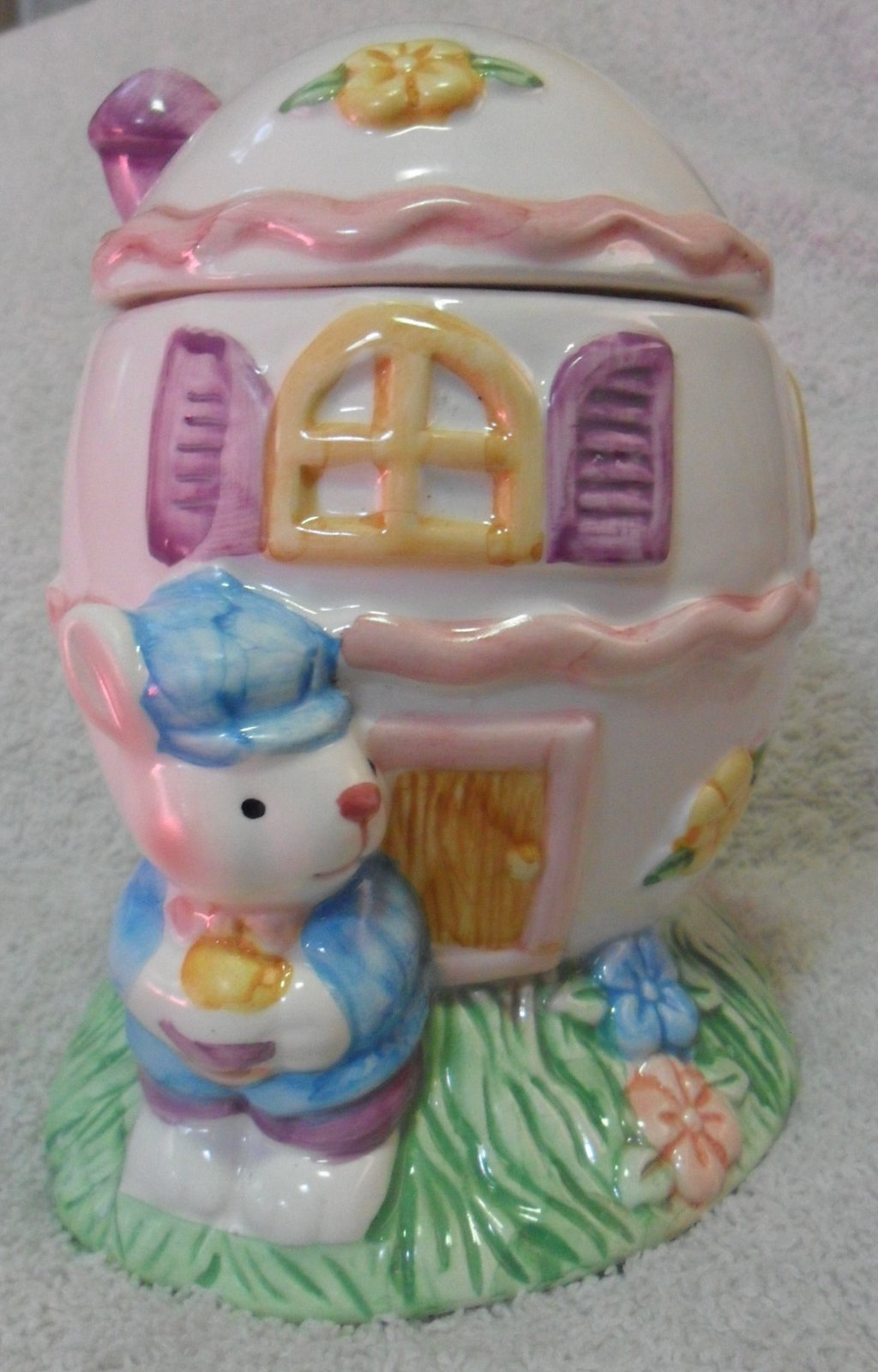 Interpur Int'l Inc EASTER BUNNY Rabbit EGG HOUSE Trinket CANDY DISH w/Lid NEW
