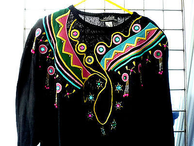 Malain Black Embellished Beads, Suede Pieces, Embroidered Very Nice Sz L