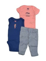 Carters 3 Piece Set for Girls Seahorse Theme Newborn 3 6 9 or 12 Months  - $11.95