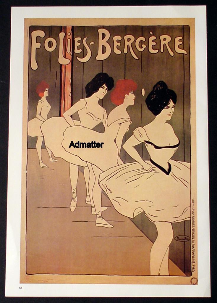 Folies Bergere French Paris Cabaret Vintage 2-Sided Pinup Girl Showgirl Poster!