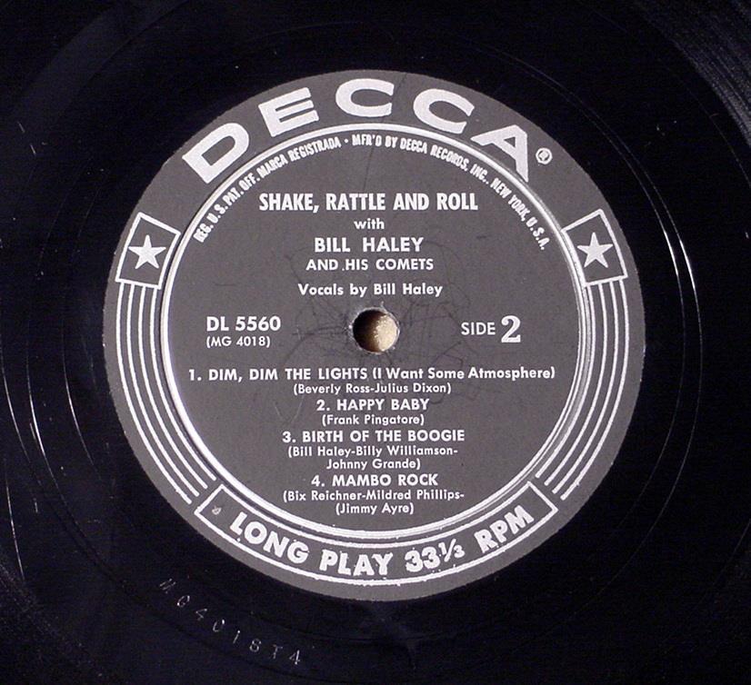 ♫ SHAKE RATTLE ROLL ♫ BILL HALEY & COMETES 1955 1ST PRESS DECCA DL5560 BV $1000