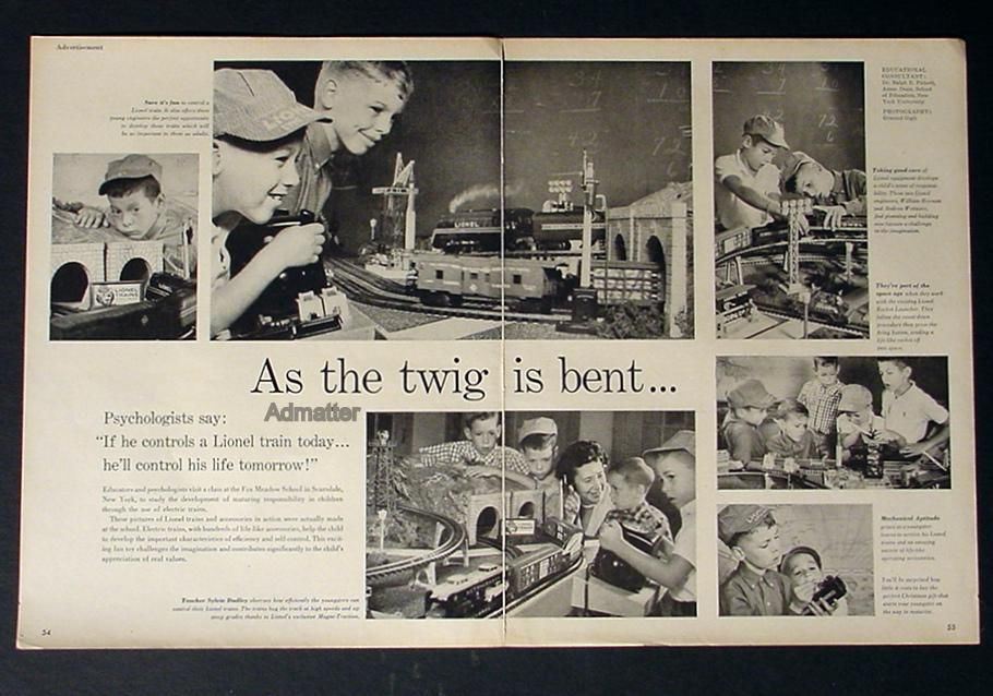 1958 LIONEL ELECTRIC TOY TRAIN SET AD RARE ADVERTISEMENT! AS THE TWIG IS BENT...