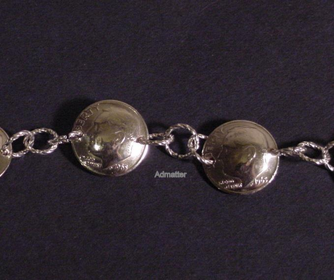 1965 ADJUSTABLE DIME CHARM BRACELET 3D COINS 51st BIRTHDAY ANNIVERSARY GIFT!