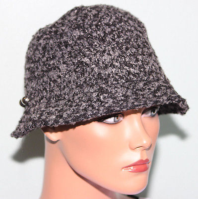 NWT August Accessories Black Cloche Hat Side Buttons detailing