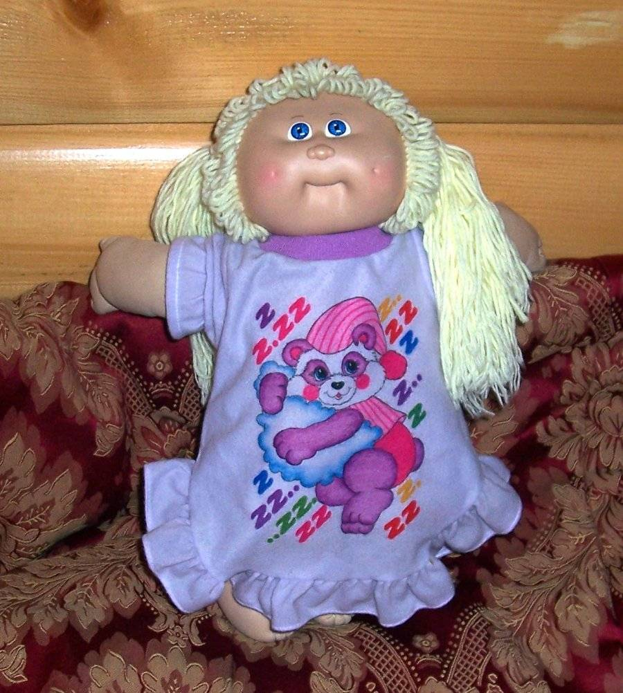 Cabbage Patch Kids Coleco Blonde '85 2 Ponies #9 Face Bear Nightie Orphan