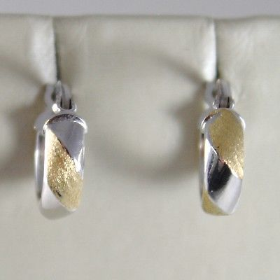 WHITE GOLD EARRINGS YELLOW 750 18K CIRCLE, TWISTED, CROSSED, SATIN