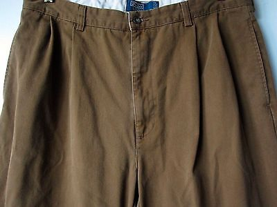Polo Ralph Lauren Pants 34 x 33 Brown Pleated Chinos Hammond Pants Trousers