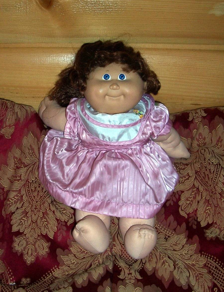 Cabbage Patch Kids Coleco Brown Cornsilk Pony #15 CPK Sateen Party Dress Orphan