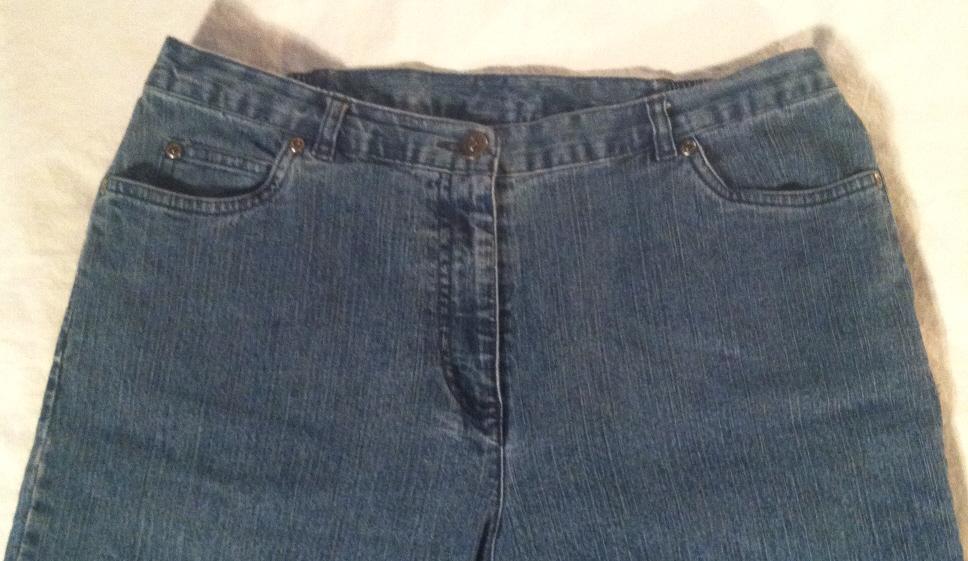 Ruby Red Petite women's jeans sz 12 P Short elastic waist sides denim