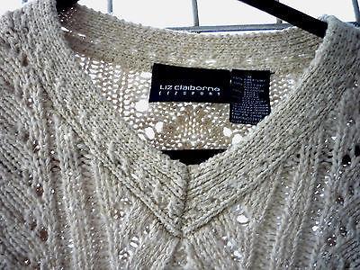Liz Claiborne Cream Cable Knit V Neck Sweter Sz M