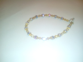 Handmade Gold Bead & Blue Crystal Bracelet - $4.50