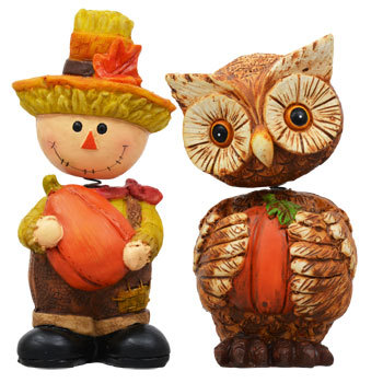 Set of 4 Thanksgiving Bobblehead Figurines Squirrel Owl Boy and Girl Scarecrow