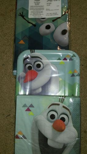 Disney Frozen Olaf Party Supplies -tablecloth, napkins,plates, celebrate,party
