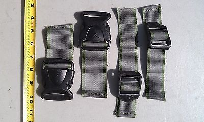 "5MM92 NYLON STRAP HARDWARE: (2) 2"" DISCONNECTS, (2) 1-1/2"" ADJUSTERS, VERY GOOD"