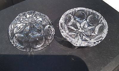 5NN11 PAIR OF GLASS DISHES, APPEARS TO BE CUT GLASS, SOUNDS LIKE CRYSTAL, VGC