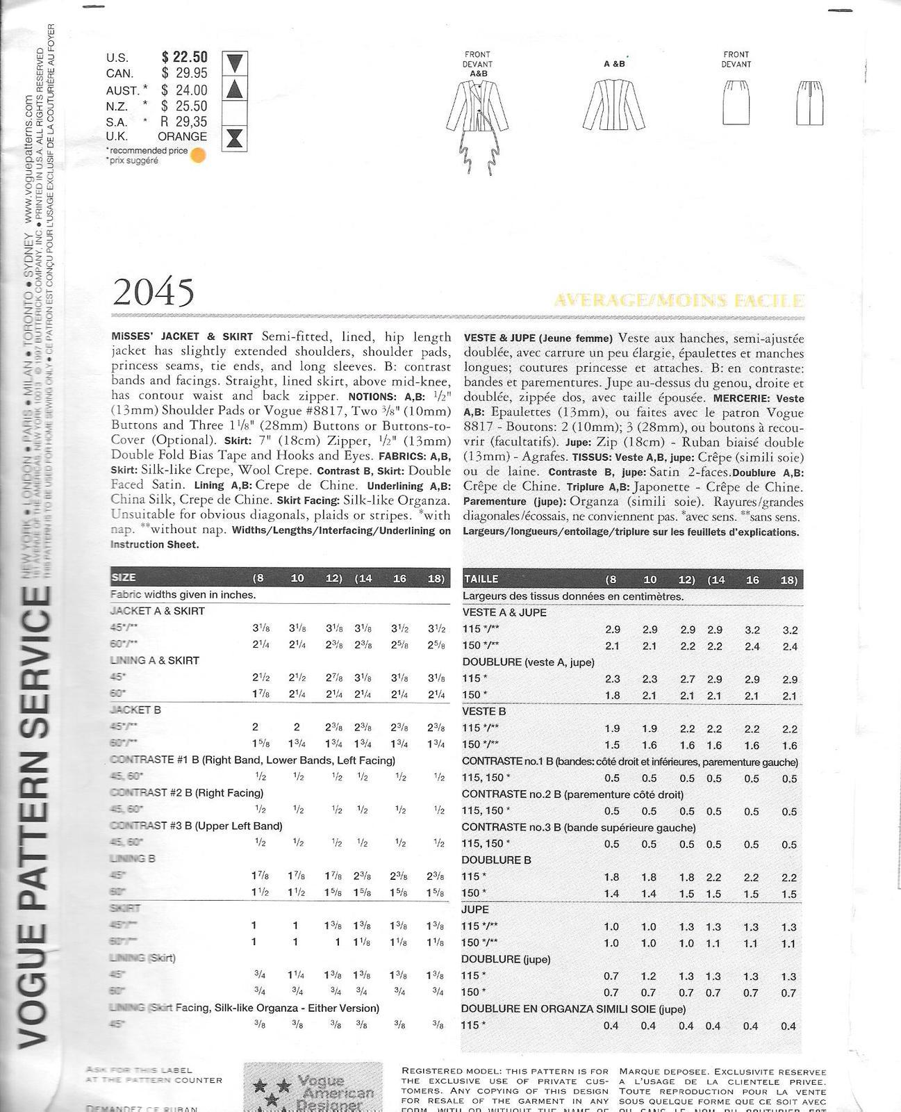 Vogue 2045 Pattern 14 16 18 Geoffrey Beene Jacket Skirt vintage couture