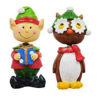 Set of 4 Christmas Bobblehead Figurines Santa, Snowman, Owl, and Reindeer