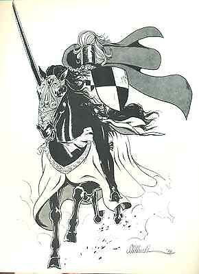 """BLACK KNIGHT by Stillwell (1976) 8-1/2 x 11"""" unsigned ACBA Sketchbook print"""