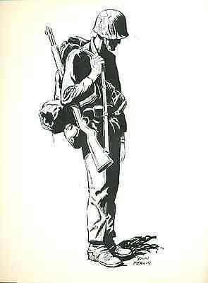 """SOLDIER by Don Perlin (1976) 8-1/2 x 11"""" unsigned ACBA Sketchbook print"""