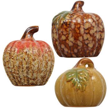 Set of 6 Fall Glazed Ceramic Pumpkins