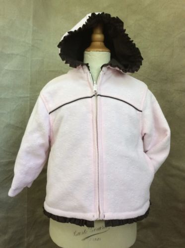 Carters REVERSIBLE FLEECE JACKET Strawberry Cream PINK & CHOCOLATE BROWN Coat 3T