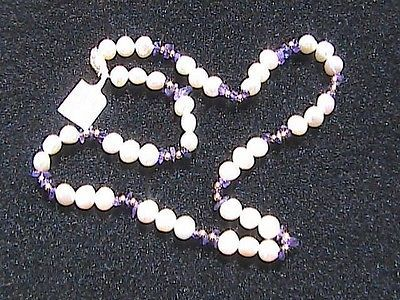 14k Solid Yellow Gold Fresh Water Pearl & Amethyst Bead Necklace