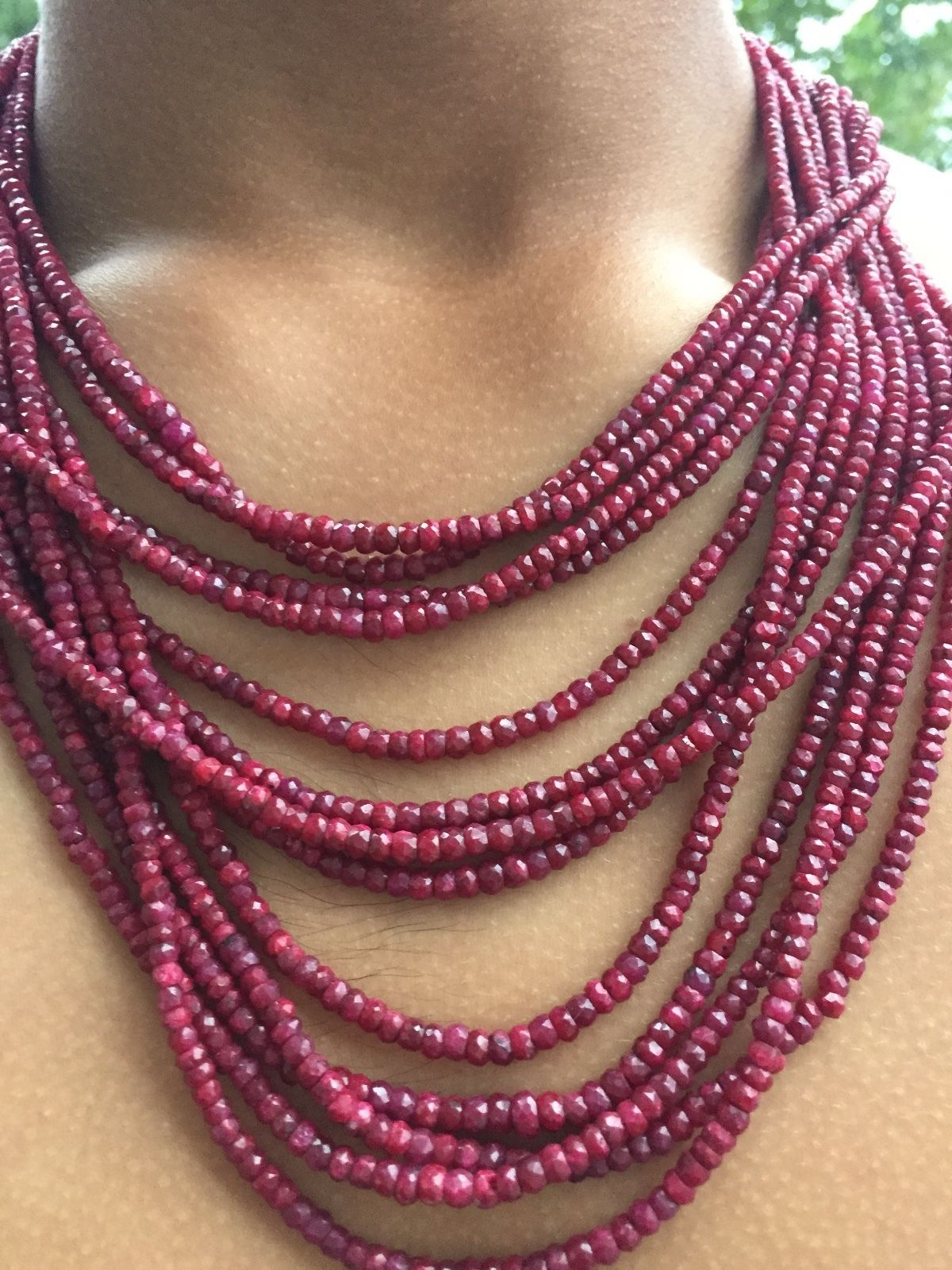 Huge 946 cts 13 strands Natural Ruby Diamond Platinum SS Necklace & Earrings