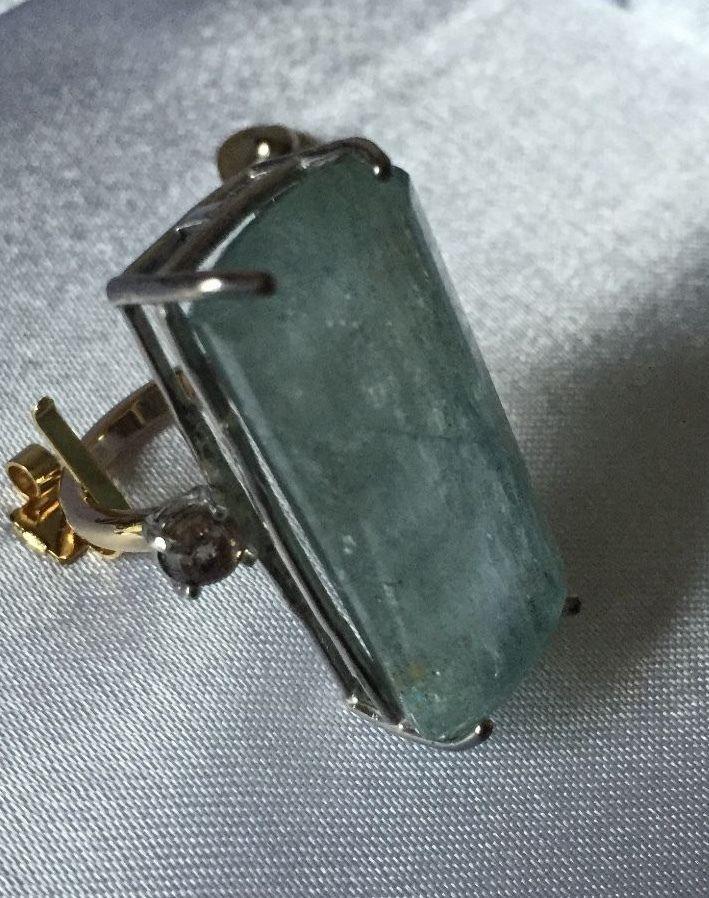 Custom Estate Huge 47 ct Aquamarine diamond 14k yellow gold & SS ring Sz 6.8-7