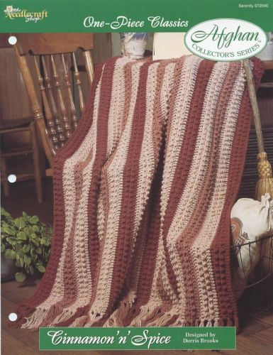 Cinnamon 'n' Spice One-Piece Afghan Crochet Pattern/Instructions Leaflet NEW