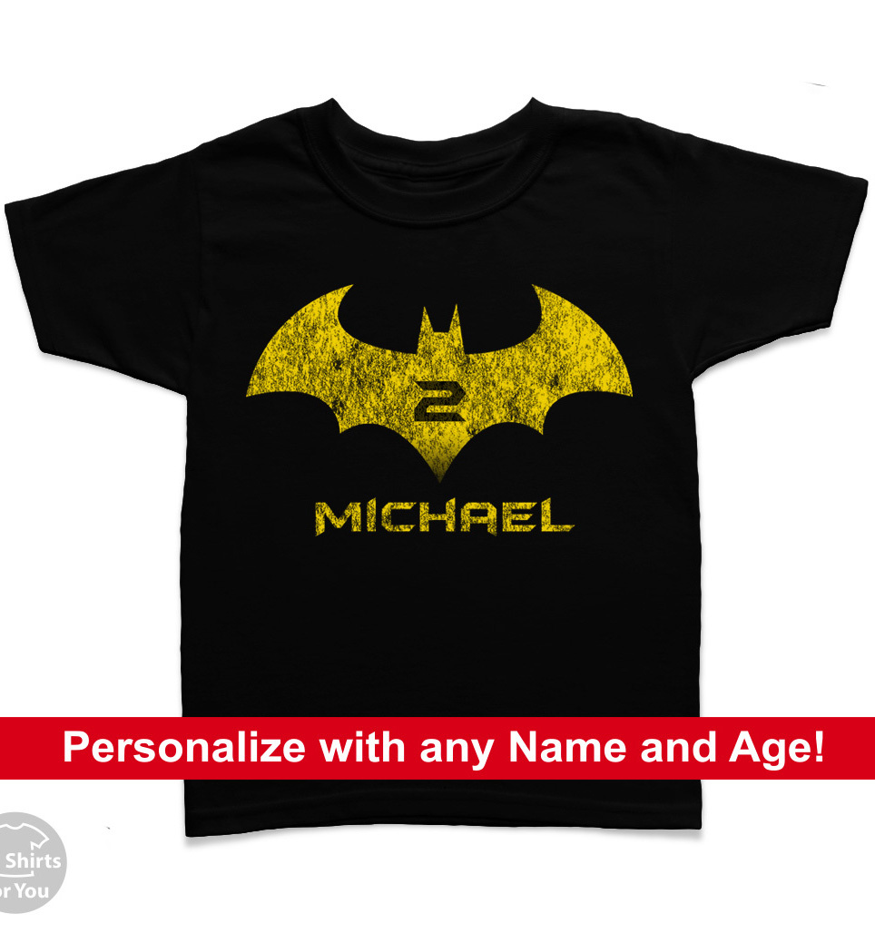 Batman Kid's Birthday T Shirt, Birthday T-Shirt, Custom Name and Age